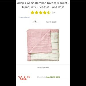 "NEW! Aden + Anais | Bamboo Dream Blanket 47""x47"""